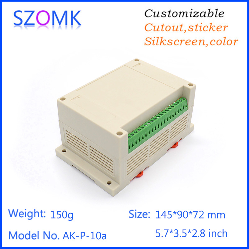 1 piece free 145*90*72MM plastic case din rail enclosures for electronics abs housing din box cutting with terminal Block 1 piece plastic box electronics din rail housing szomk din rail plastic enclosures junction box connector terminal block case