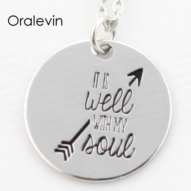Wholesale it is well with my soul engraved pendant charms necklace wholesale it is well with my soul engraved pendant charms necklace lover gift jewelry 10pcs aloadofball Choice Image