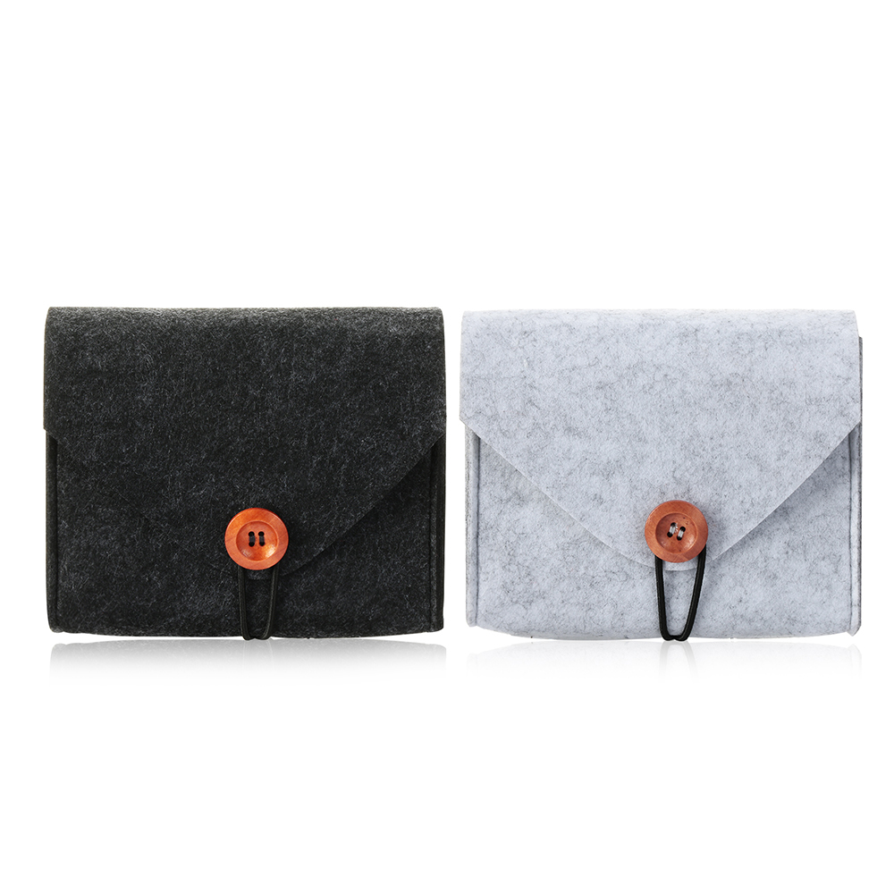 Men Business Coin Purse Earphone USB Date Cable Mouse Storage Bag Money Credit Card ID Holder Felt Pouch Wallet Travel Organizer