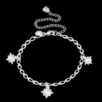 Three Thick snowflakes pendant Anklets foot wear 925 Sterling Silver Creative charms For girls Jewelry Gift pouches free