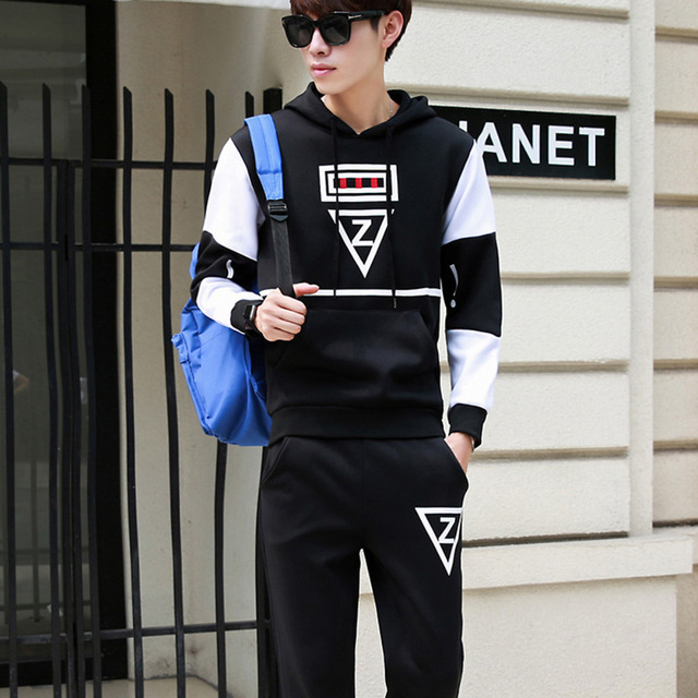 1ddfd72746d Casual sporting suit men hooded tracksuit track hidden suspenders Black  men s sweat suits set Pockets white Z print large size
