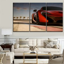 One Set 3 Piece McLaren P1 Orange Supercar Front View Picture Modern On Canvas Print Type And The Wall Decorative Painting
