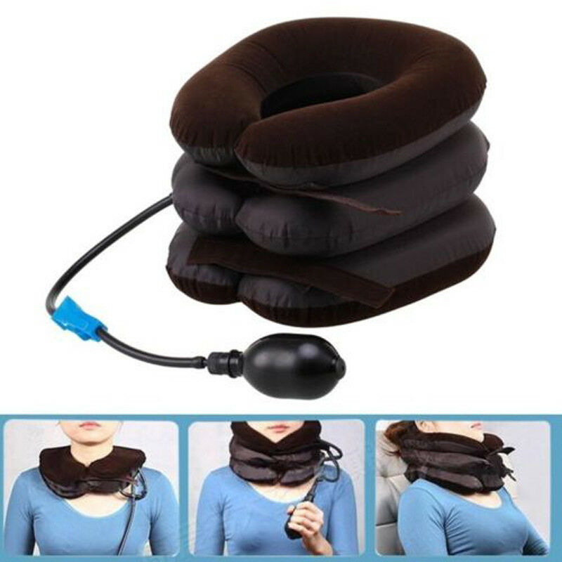 Hot Drop Ship 3 Layer Inflatable Air Cervical Neck Back Traction Device for Pain Relief Neck Head Stretcher Pillow Pain Release(China)