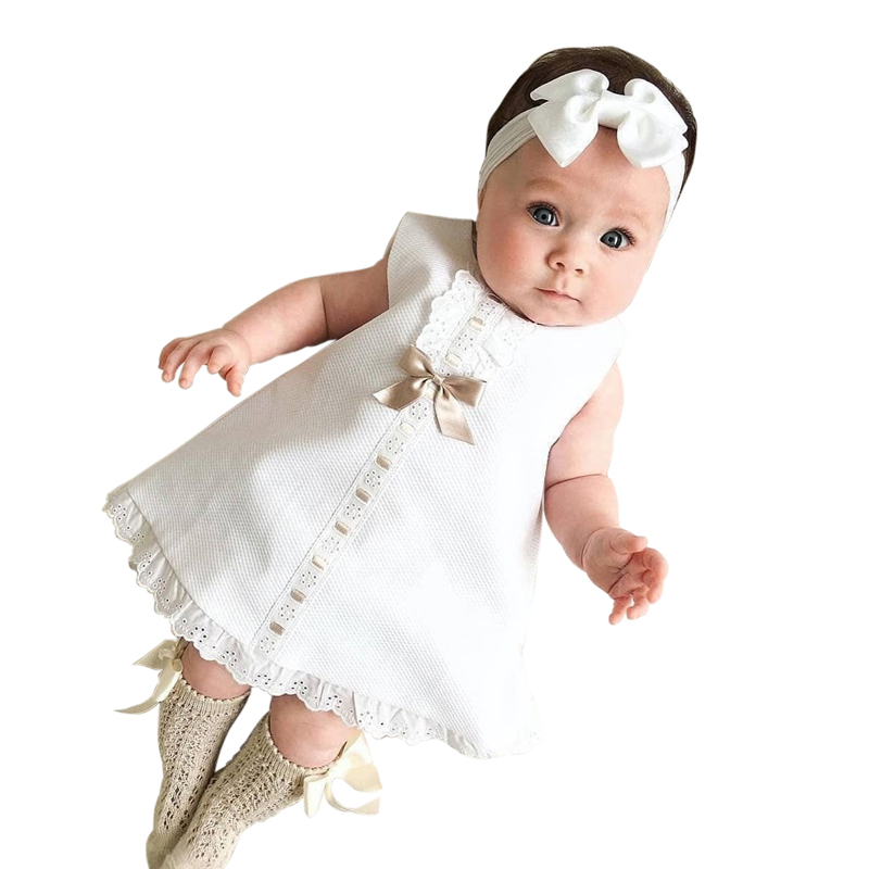 Baby-Dresses Birthday Girls 0-2-Years Bow for with Headbands Christening Clothing White