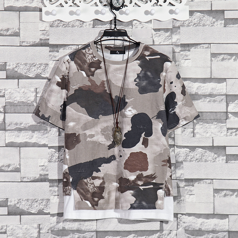 Summer New Fashion Retro Print Men T Shirt Camouflage Short-sleeved T-shirt Male Round Neck Loose Large Size T-shirt 9
