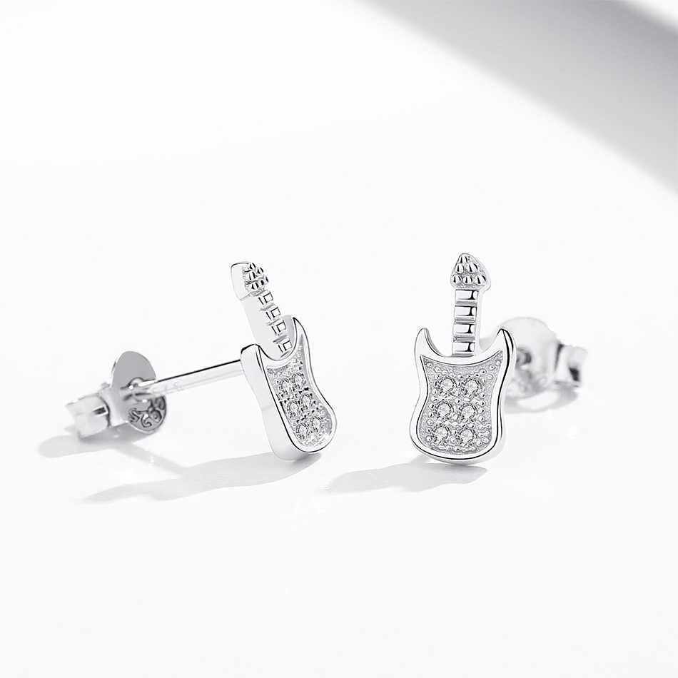 Fashion New Sparkling Guitar Crystal Zircon Earrings for Women Girls Authentic 925 Sterling Silver Stud Earrings Female Jewelry