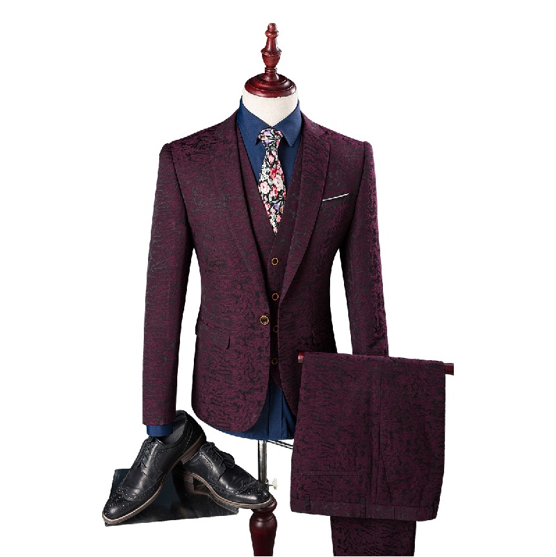 2016 High quality printed wedding wine red suits men,blazer men,wedding dress,business mens suits,size M,L,XL,XXL,3XL,4XL