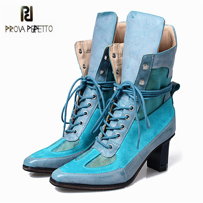 Prova Perfetto Patchwork Lace Up Women Ankle Boots Chunky High Heel Platform Boot Sexy High Top Martin Botas Women Pumps prova perfetto hollow out women ankle boots sexy chunky high heel boots genuine leather straps platform botas mujer women pumps