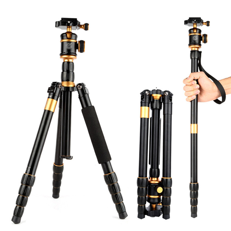 QZSD Q888 Professional Portable Monopod Tripod Aluminum Alloy Detachable Traveling Tripods Ball Head for Canon Nikon DSLR Camera 2015 hot qzsd q888 professional tripod for slr camera portable traveling tripod head monopod changeable free shipping