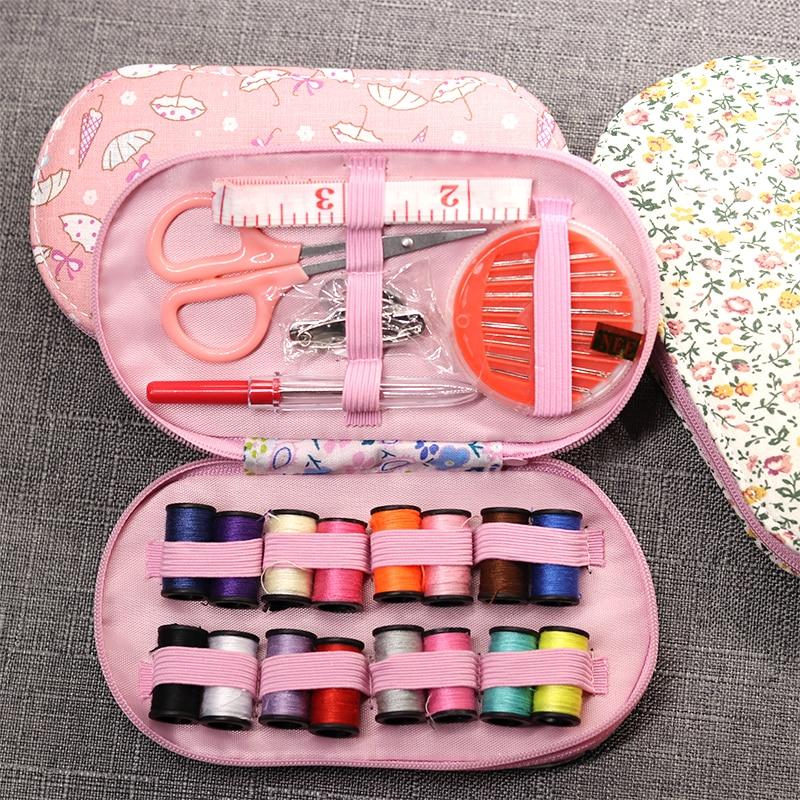 Φορητά μίνι ταξίδια κουτί ραπτομηχανές κουτί με κλωστές βελόνας χρώματος καρφίτσα ψαλίδι ραπτική σετ με κιβώτιο σπίτι εργαλεία DIY εργαλείο χειρός
