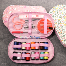 Portable mini travel sewing kits box with color needle threads pin scissor sewing set with case box home tools DIY handwork tool