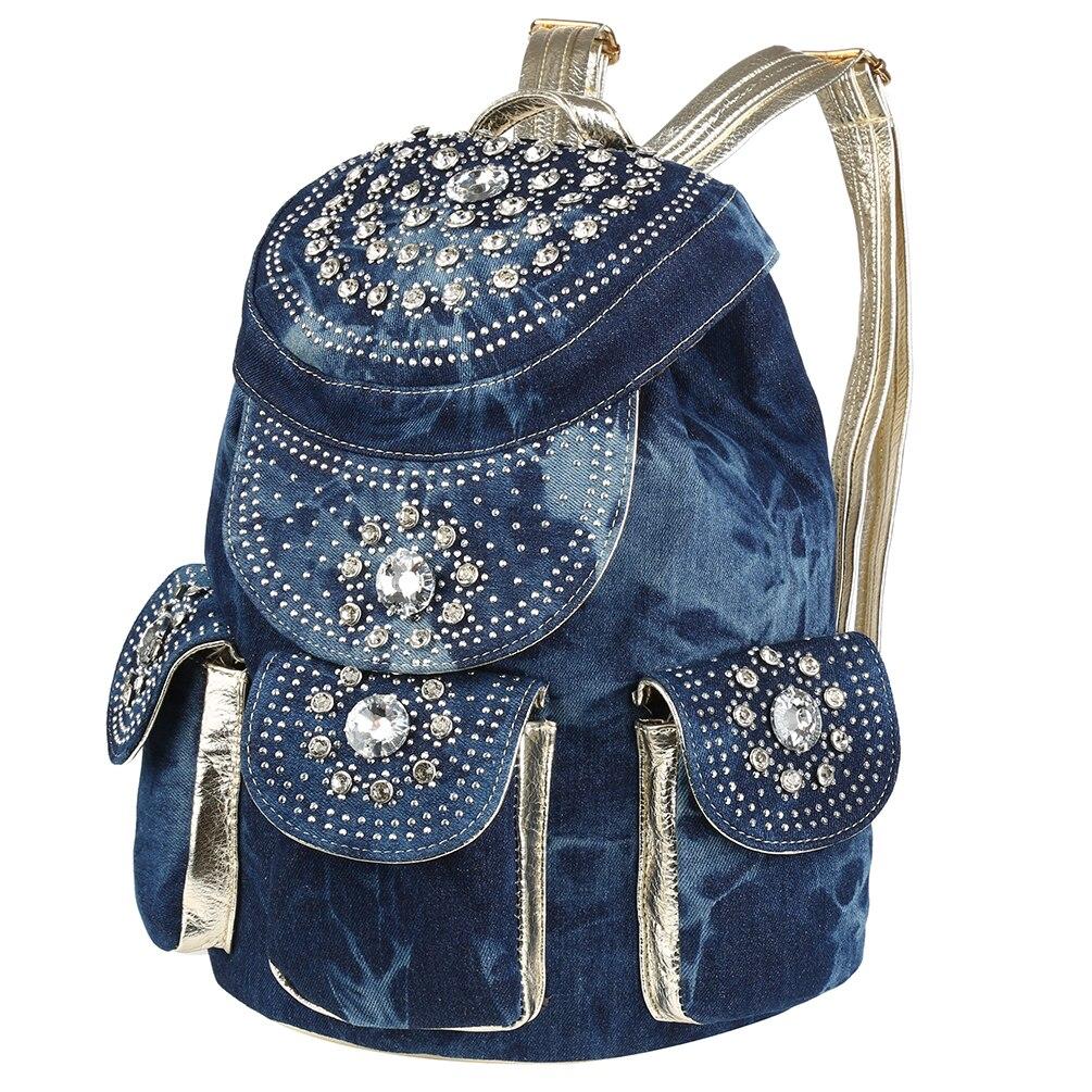 Vbiger Women Denim Backpack Stylish Drawstring Backpacks Trendy School Casual Daypack Fashionable with Rhinestone Decoration stylish mid waist cuffed denim ripped shorts for women