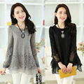 2016 New arrival autumn lace patchwork tops Pregnant women solid loose blouses black gray maternity blouse woman tops M548