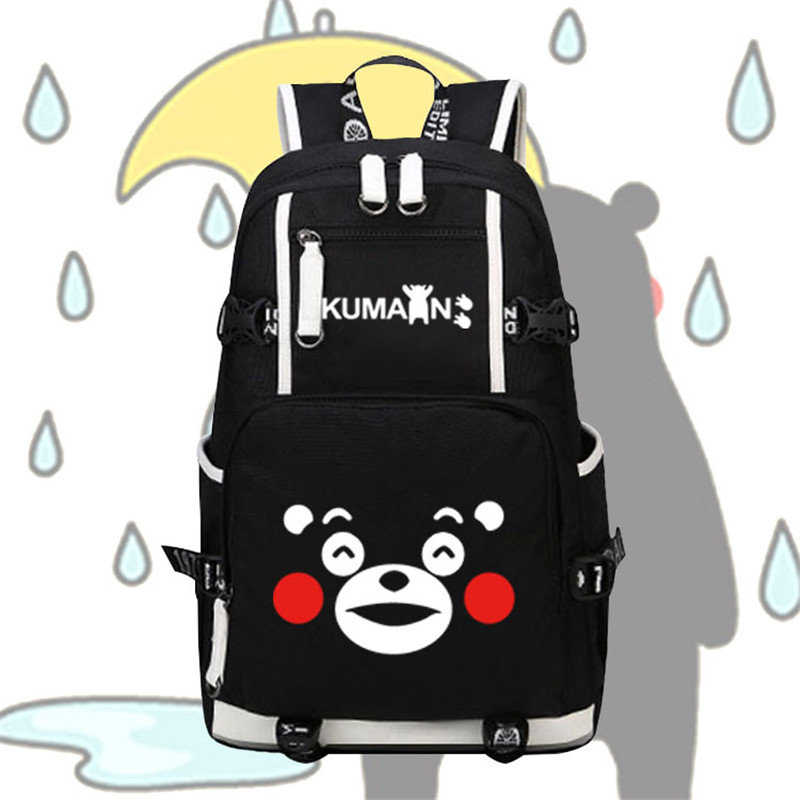High Quality Mascot Kawaii Kumamon Emoji Bags Printing Women Backpack Mochila Feminina Canvas School Backpacks for Teenage Girls