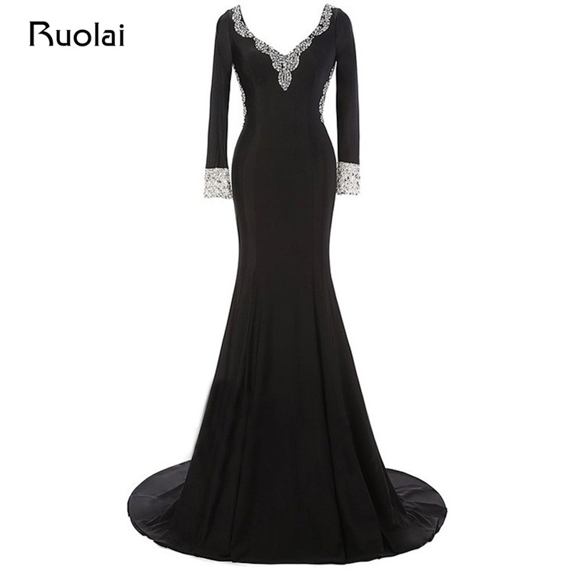 Real Made Sexy V-Neck Long Sleeve Prom   Dresses   2019 Satin Black   Evening     Dresses   Mermaid Sequined Party   Dress   Vestido Festa PD63