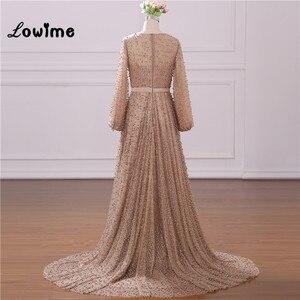 Image 2 - Vestido de noche Formal musulmán elegante mangas largas con abalorios Vestido de fiesta de boda con cinturón de flores Vestido Longo 2018 hecho a medida