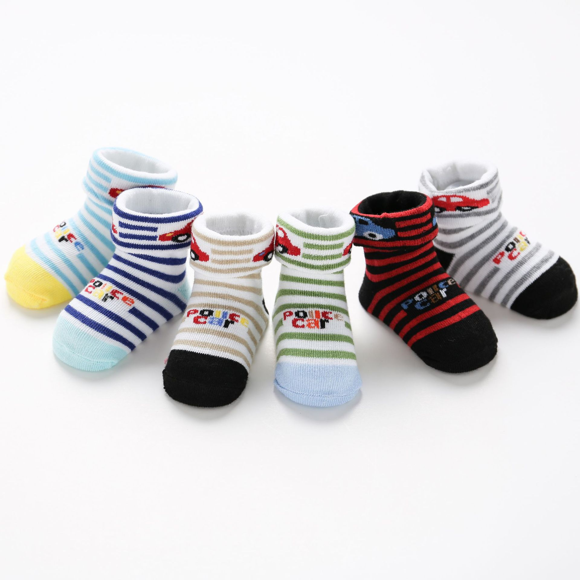 6Pair/lot Cotton Baby Socks For Boys Girls Cartoon Car Stripe Medias Para Bebe Soft Stretch Toddler Sock Set For 0-1Y