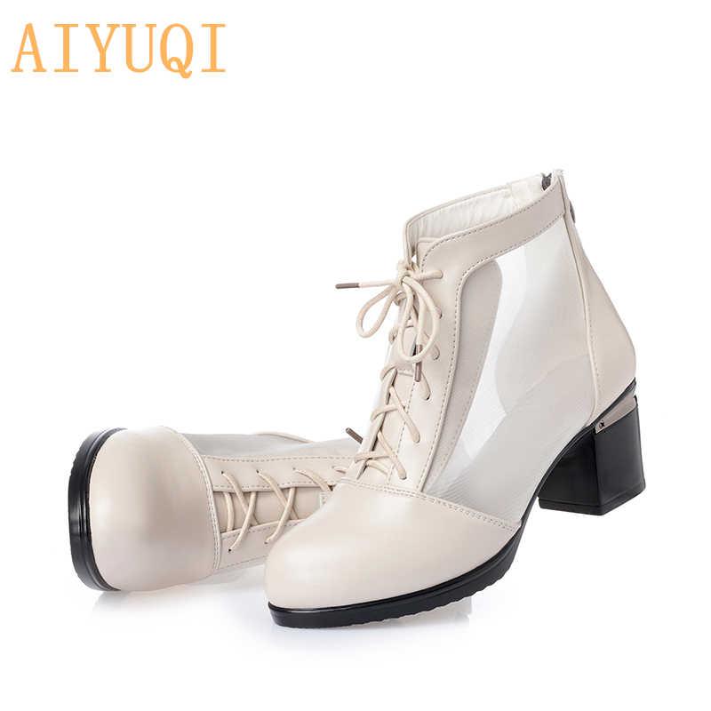 AIYUQI/2019 г. Новые летние женские ботинки женские босоножки из натуральной кожи модные женские босоножки с сетчатым платьем, большие размеры 41, 42, 43