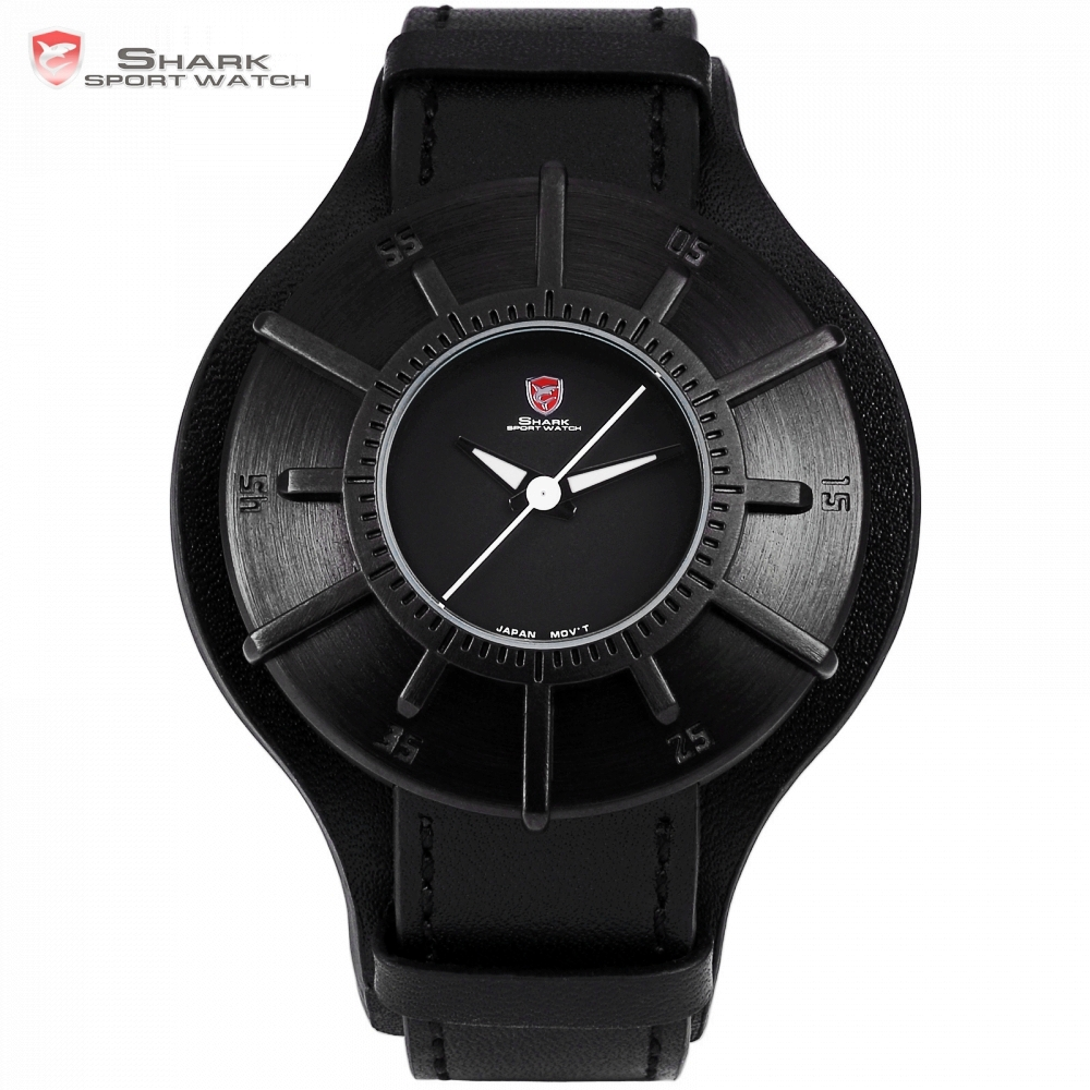 Silky Shark Sport Watch 2018 Men Watches Brand Luxury Black 3D Oversized Dial Military Quartz Genuine Leather Male Clock /SH482 shiweibao a1165 casual oversized dial quartz watch for men