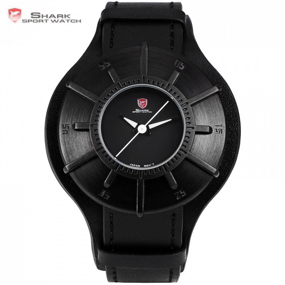 Silky Shark Sport Watch 2018 Men Watches Brand Luxury Black 3D Oversized Dial Military Quartz Genuine Leather Male Clock /SH482