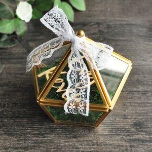 Image 4 - Personalizado Pentagon joyero anillo portador almohada, rústico anillo de boda titular caja propuesta regalo de compromiso
