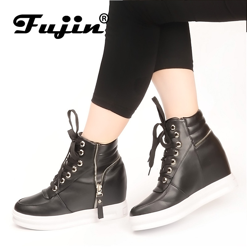 Fujin Brand Autumn Winter Women Casual Shoes Hidden Wedges Canvas increased Shoes Ladies Ankle Boots Shoes For Women High Top