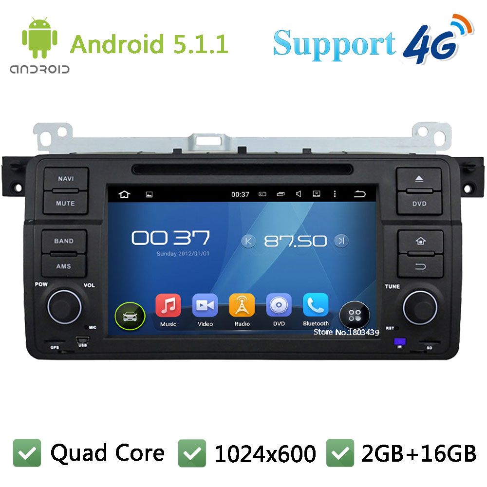 Quad Core 1024*600 Android 5.1.1 Car DVD Player Radio 4G WIFI GPS Map For BMW 3 Series E46 M3 318i 320i 325i 328i Rover 75 MG ZT