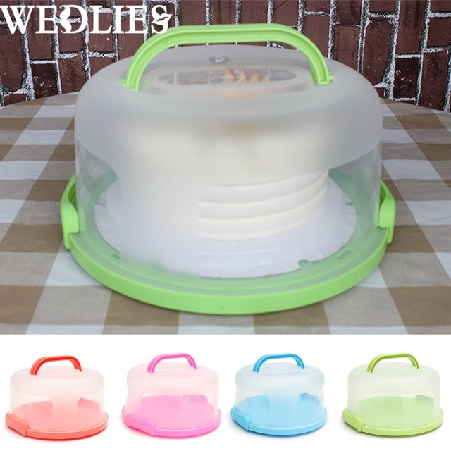 Plastic Round Cake Box Carrier Handle Pastry Storage Holder Dessert