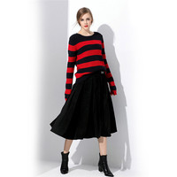Women Sweaters 2017 Autumn Winter Warmer Striped Knitted Sweaters Female Casual Loose O Neck Pullover Crochet