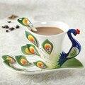 Pavão café xícara de cerâmica criativa caneca de porcelana de ossos 3D cor do esmalte da porcelana pires conjuntos de chá de café para o amigo presente
