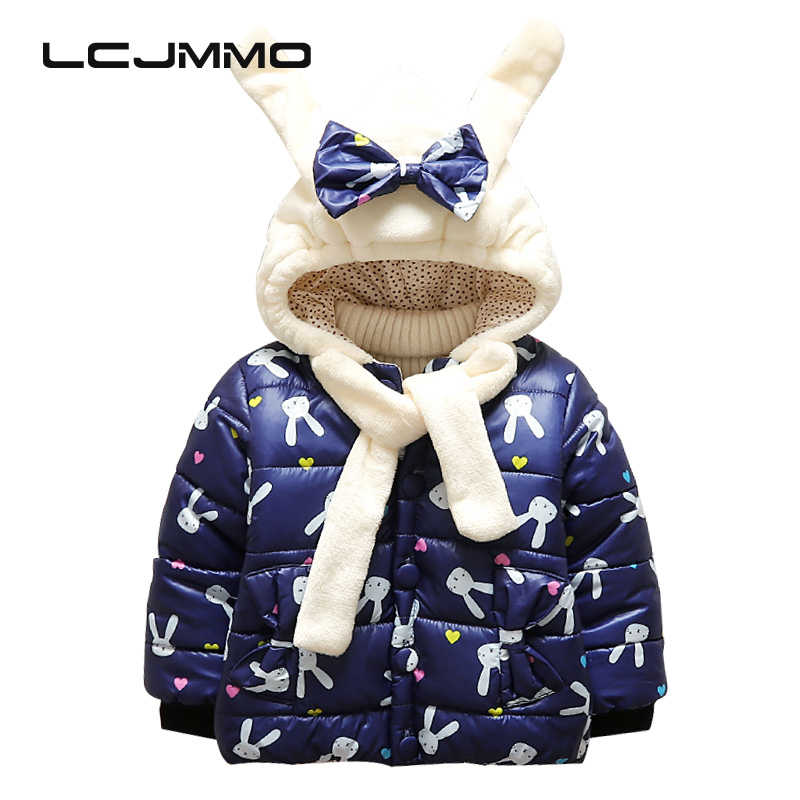 LCJMMO Baby Girls Winter Coat Rabbit Hooded 2017 Jackets For Boys Cartoon Warm Cotton Outerwear Children Autumn Kids Clothes 2017 winter baby coat kids warm cotton outerwear coats baby clothes infants children outdoors sleeping bag zl910