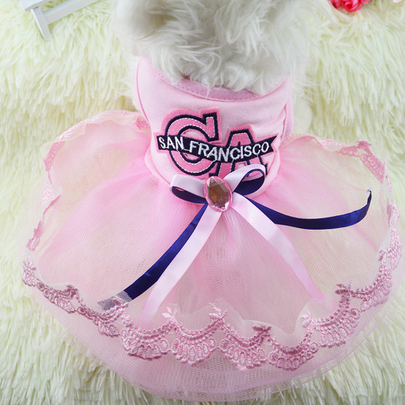 b508f243a0ad8 New Dog Dresses for Small Dogs Poodle Skirt Puppy Dress Sumer Dog Clothes  Girl Pet Products Vestidos Tutu Para Perros Pink