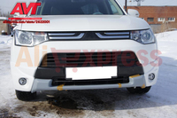 Pad on front bumper for Mitsubishi Outlander III 2012 2015 samurai car styling decoration tuning sport style car style