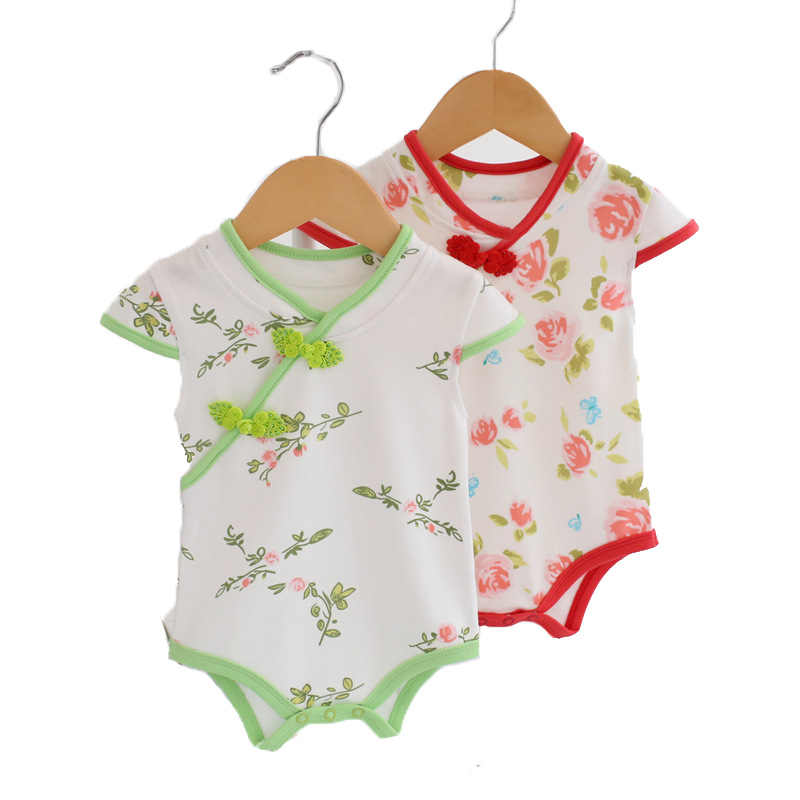 2036338025c3 Summer Baby Rompers Chinese Cheongsam Cotton Baby Girl Clothes Newborn Baby  Clothes Roupas Bebe Infant Jumpsuits