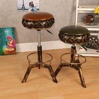 Промышленный Утюг бар гидравлические стула простой ретро стул Американский барный стул поворотный подъема высокой украшения дома фрески и