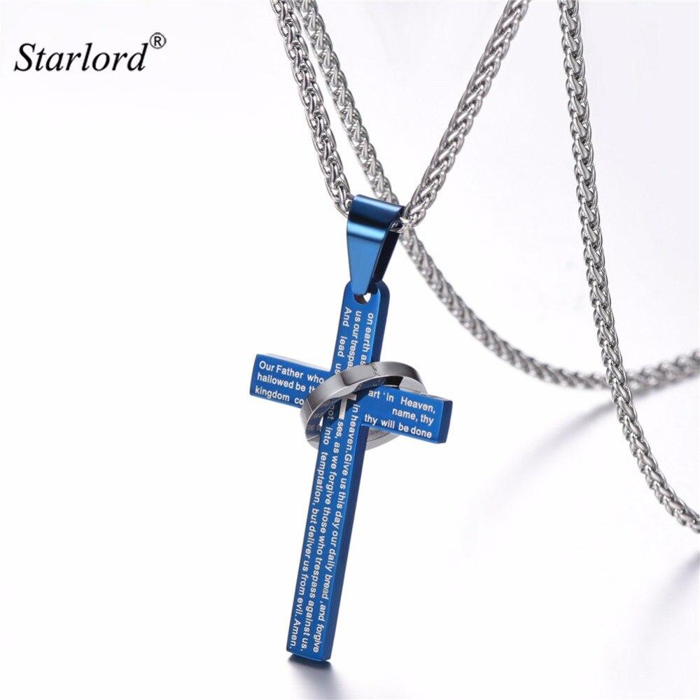 Blau Kreuz Halskette Mit Englisch Bibel Vers Edelstahl/Gold/Schwarz Farbe Kreuz Schmuck Christian Geschenk GP2192L