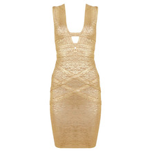 Sleeveless V Neck Mini Hollow Out Stamping Bandage Dress