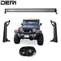 3D 50 inch 288W Dual Row Straight LED Work Light Lamp Bar + Windshield Mounting Brackets For Jeep Wrangler TJ 1999 2006 Kit
