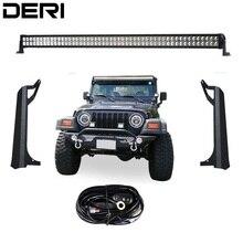 3D 5D 50 polegada 288 W Dupla Fileira Reta CONDUZIU a Luz do Trabalho lâmpada Bar + Ventosa Suportes De Montagem Para Jeep Wrangler TJ 1999-2006 Kit