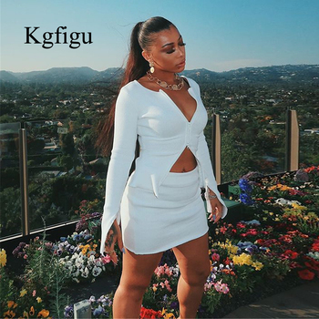 Kylie jenner ribbed tops and skirts sets 2019 Autumn two pieces sets sexy zipper full sleeve white matching sets outfits