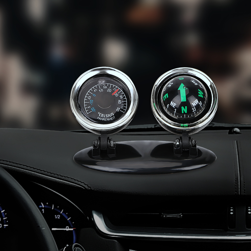 2 In 1 Auto Car Compass Thermometer Guide Ball Interior Accessories Equipment