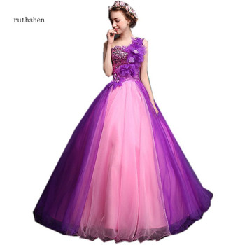 ruthshen Colorful Quinceanera Dresses One Shoulder Contrast Color Gowns Prom Dresses Pleats Sequined Princess Ball Gowns