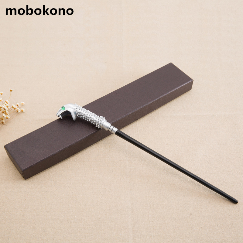 mobokono New Arrive Metal Iron Core Malfoy Snake Wand Harry Potter Magic Magical Wand Gift Box Packing high quality best price harry potter magic wand kids cosplay stage magic tricks sticks children toys harry potter magical wand