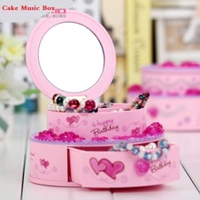 Fashion birthday cake style plastic music box belt dressing mirror jewelry holiday gifts