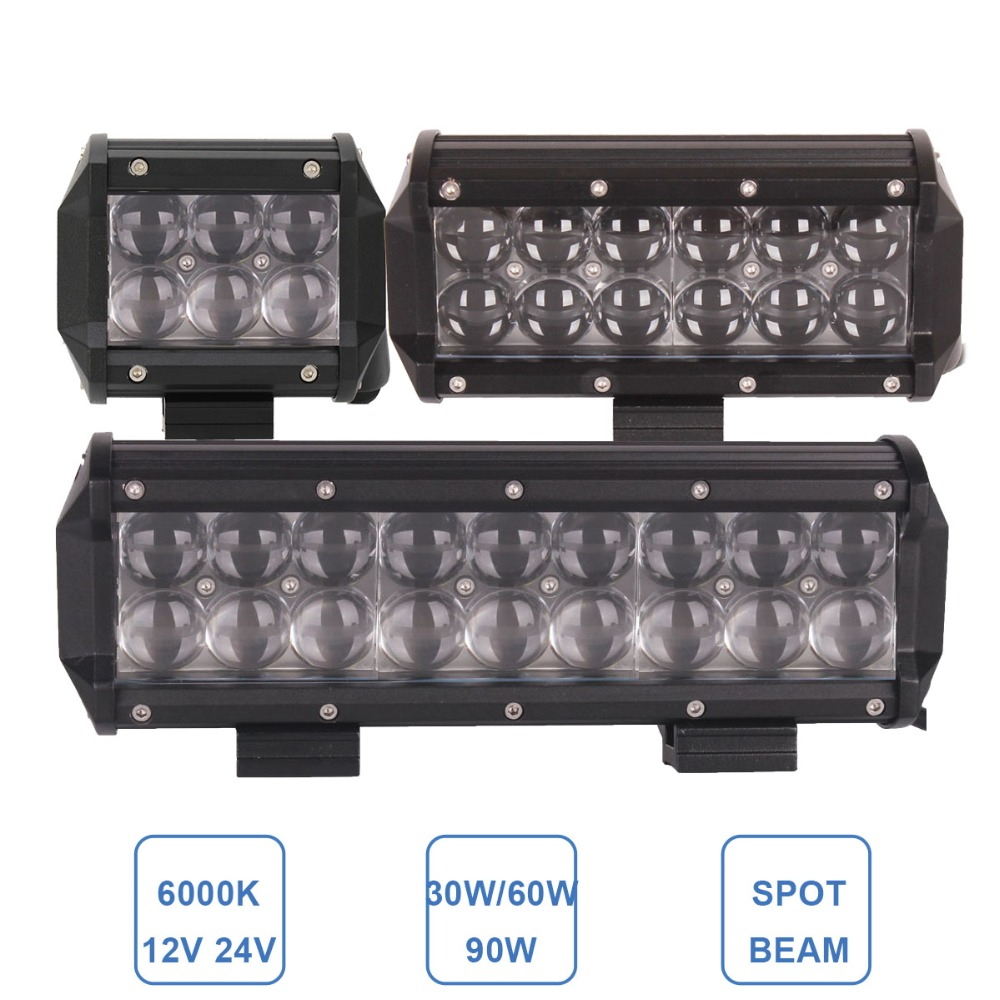 OFFROAD LED WORK LIGHT BAR 30W 60W 90W CAR ATV SUV HEAVY DUTY 4X4 4WD UTE TRAILER MOTORCYCLE DRIVING HEADLIGHT AWD SPOT FOG LAMP