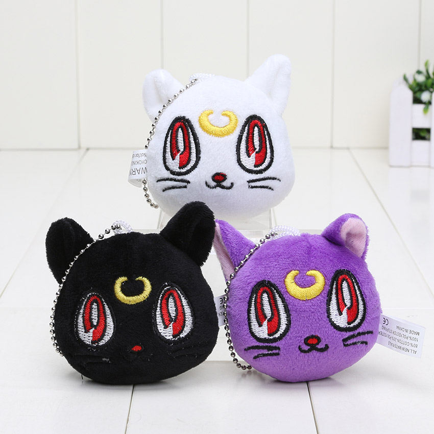3styles can choose Sailor Moon 7cm Artemis Plush Toy Love Cats Doll with Ring Soft Stuffed