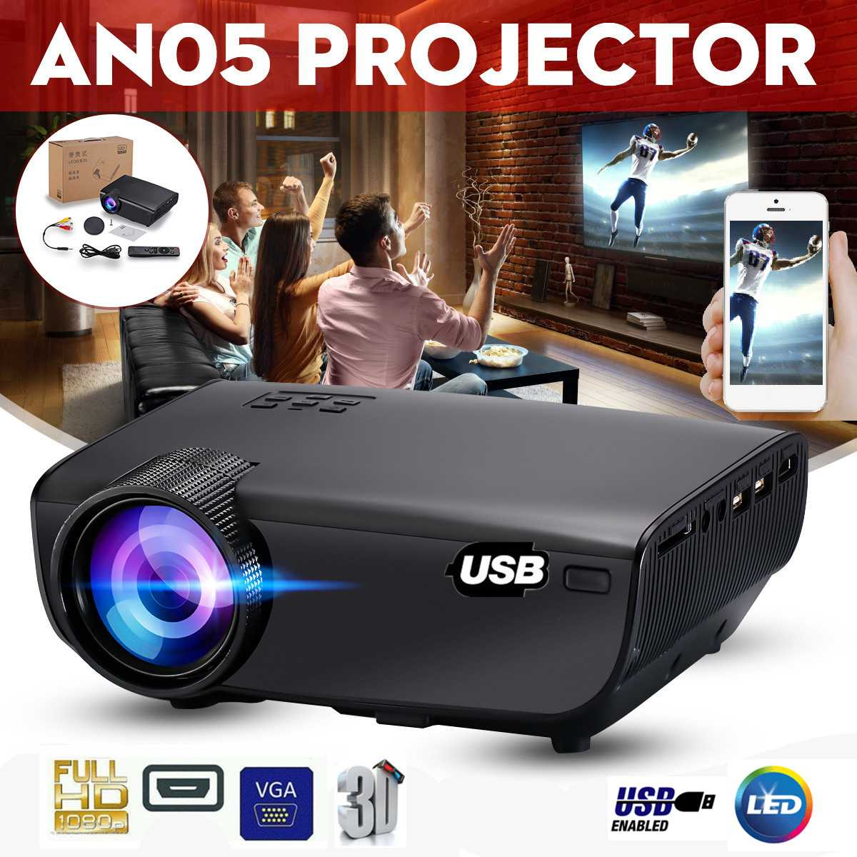 LEORY 2019 Newest <font><b>7000</b></font> <font><b>Lumens</b></font> LED 3D Projector USB Smartphone Display HDMI/USB/AV/SD/U Flash Disk Beamer Home Theater Projectors image