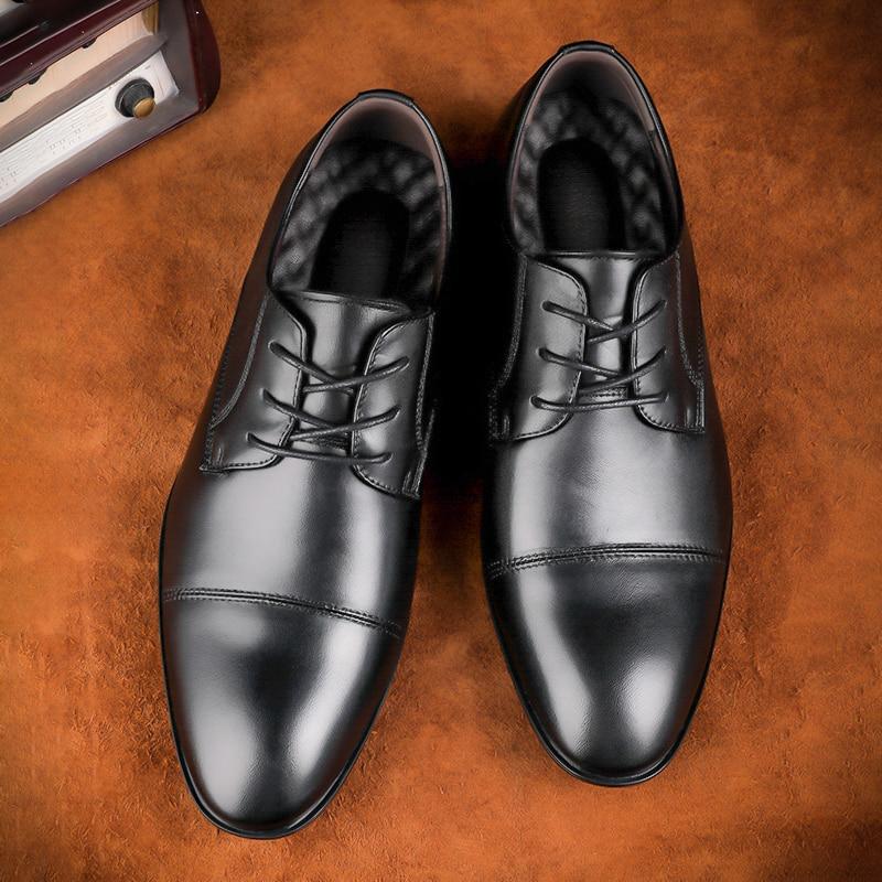 Tallas grandes 48 zapatos de hombre de marca de cuero Casual de moda negro azul marrón zapatos planos para hombres zapatos de negocios de envío directo * 6628 - 3