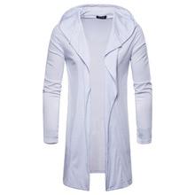 Модные Для мужчин с длинным Стиль кардиган с капюшоном накидка пальто Повседневное Для мужчин куртка с длинными рукавами пальто Для мужчин Европейский Размеры M-2XL