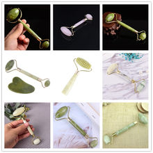 Double Head Facial Massage Roller Jade Face Slimming Body Head Neck Nature Jade Roller Face Thin Massager(China)